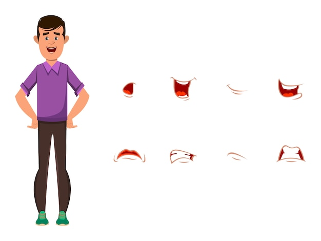 Casual boy cartoon character with different facial expression set.  different emotions for custom animation