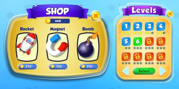 Казуальная игра с героями мультфильмов для детей, пользовательский интерфейс, игровой магазин и всплывающее меню уровней