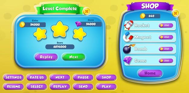 Завершенный уровень пользовательского интерфейса казуальной мультипликационной детской игры и всплывающее меню магазина с кнопками и полосой загрузки