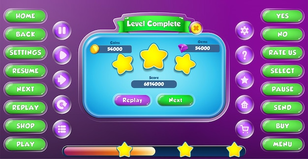 Casual cartoon kids game ui level complete menu pop up with buttons and loading bar