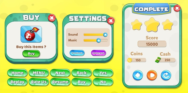 Casual cartoon kids game ui level complete, settings and buy menu pop up with stars buttons