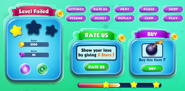 Casual cartoon kids game ui level failed, rate us and buy menu pop up with buttons and loading bar