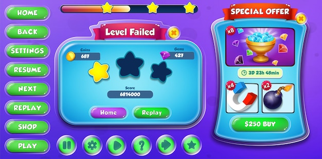 Casual cartoon kids game ui level failed and special offer menu pop up with buttons and loading bar