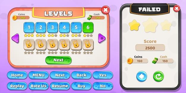 Всплывающее меню выбора уровня пользовательского интерфейса казуальной мультфильма для детей и меню с ошибкой уровня со звездами и кнопками