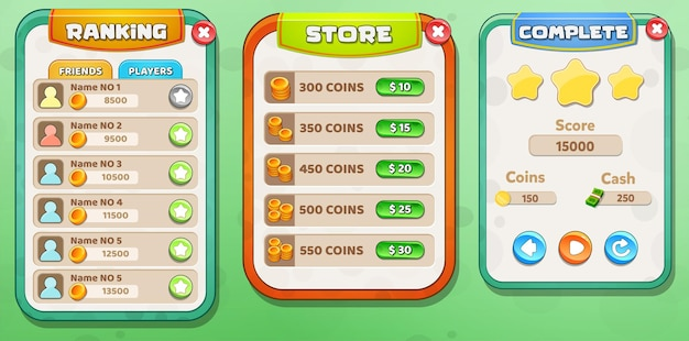 Casual cartoon kids game ui ranking, store and  level complete menu pop up with stars buttons