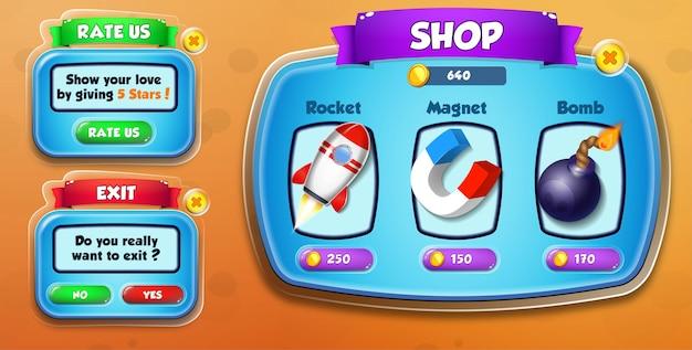 Casual cartoon kids game ui shop, rate us and exit menu pop up