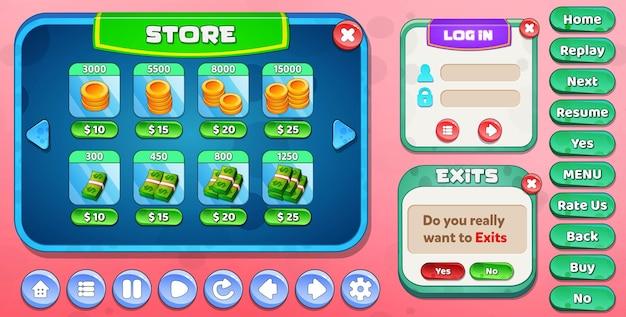 Магазин пользовательского интерфейса casual cartoon kids game, меню входа и выхода, всплывающее с кнопками со звездами