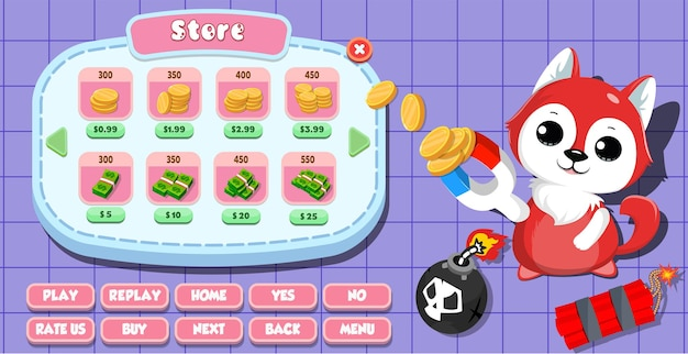 Casual cartoon kids game ui store menu pop up with coins, gold, stars, buttons  and cat