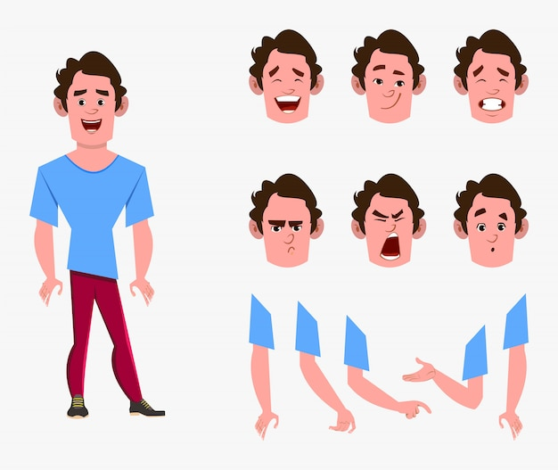 Casual cartoon man character set for your animation, design or motion with different facial emotions and hands