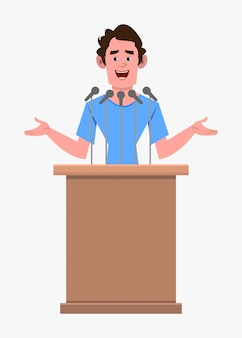 Casual cartoon man character speaker stands behind the podium and speaks.  flat style cartoon character for your design, motion or animation