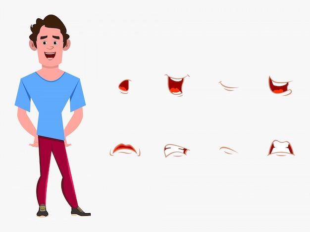 異なる表情セットを持つカジュアルな漫画男キャラクター。カスタムアニメーションのさまざまな感情