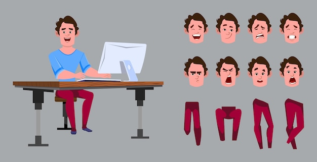 Casual cartoon man worker for animation or motion with different facial emotions and hands. office worker character set