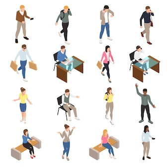 Casual city people isometric icons set with work and free time symbols isolated  illustration Free Vector
