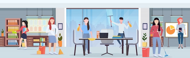 Casual coworkers team cleaners working together cleaning service concept creative co-working center modern conference room office interior flat full length horizontal
