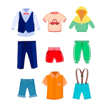 Casual and formal clothes for boys illustrations set
