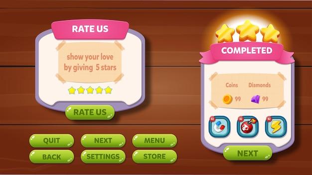 캐주얼 게임 ui 메뉴 팝업