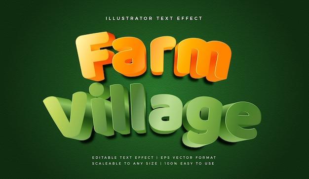 Эффект шрифта в стиле текста в повседневной игровой деревне