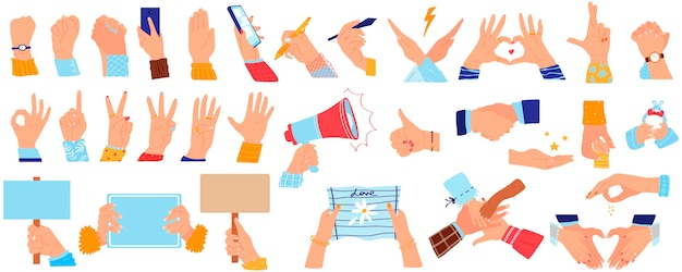 Casual hand gesture, arm hold handshake vector illustration set. handshaking or grip handclasp, people holding support arms