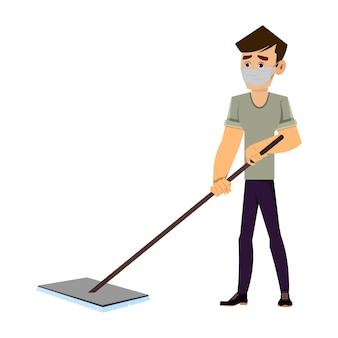 Casual man cartoon character cleaning floor