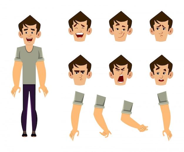 カジュアルな男の漫画のキャラクターセット、アニメーション、デザイン、モーション、さまざまな顔の感情と手