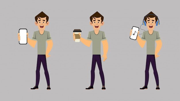 Casual man cartoon character set of three poses with holding phone and coffee cup