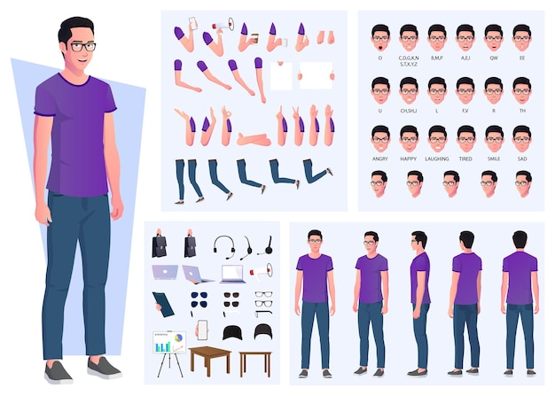 Casual man character creation set with hand gestures and accessories premium vector design
