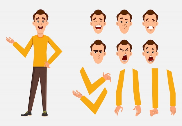 Casual man character set for your animation, design or motion with different facial emotions and hands