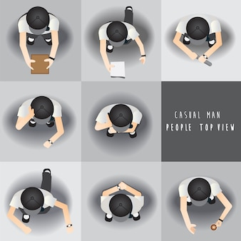 Casual man,people standing top view set ,vector illustration