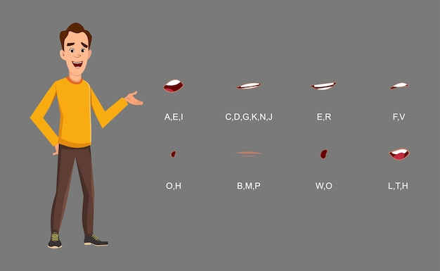 Casual man standing pose with lip sync set for your design, motion and animation