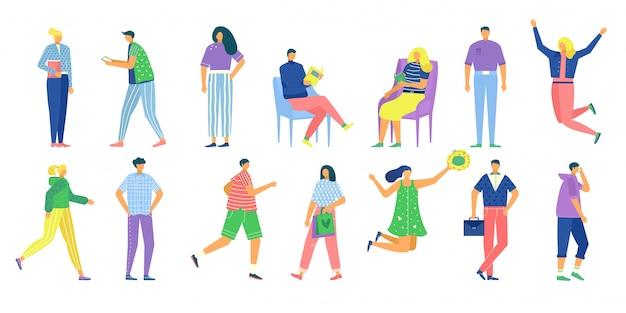 カジュアルな男性女性イラストセット、立っている、ジャンプ、白の読書カジュアルな服装で漫画顔のない人