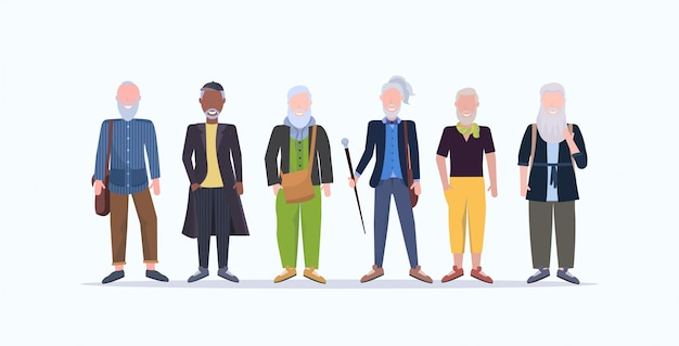 Casual mature men standing together smiling senior gray haired mix race people wearing trendy clothes male cartoon characters full length  white background horizontal