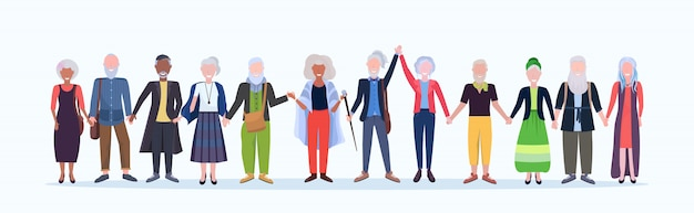 Casual mature men women standing together smiling senior gray haired mix race people wearing trendy clothes male female cartoon characters full length  white background horizontal