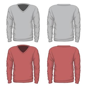 カジュアルなメンズvネックスウェットシャツ。ファッションウェア、衣料品テキスタイル、ベクトルイラスト。 vネックベクタースウェットシャツまたはベクターメンズスウェットシャツ