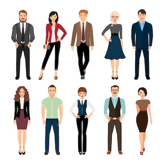 Casual office people vector illustration. fashion business men and business women persons group standing isolated