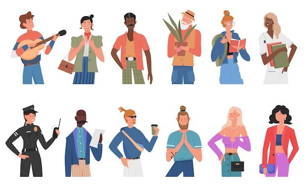 カジュアルな人々は、さまざまな人種の多様な多民族のキャラクターセットを漫画します