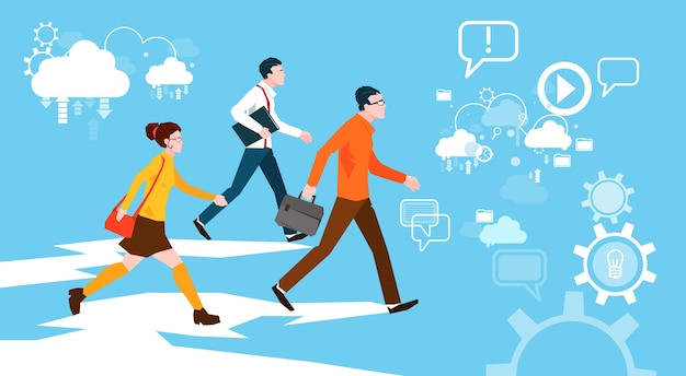 Casual people group walking business abstract background