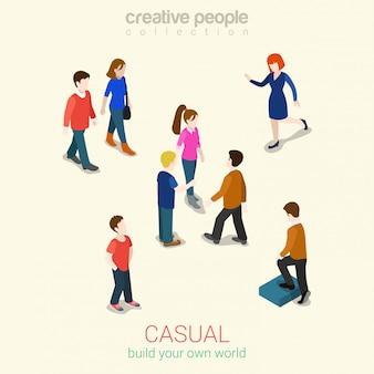 カジュアルな人々セット等尺性イラスト