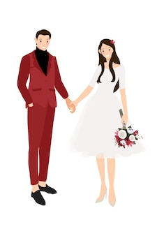 Casual wedding couple holding hands in red suit and dress flat style
