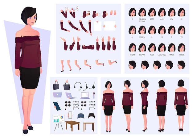 Casual woman character set with emotions, expressions, gestures, and lip sync design