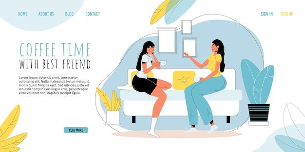 カジュアルな女性は家のリビングルームで素敵な会話で一緒に時間を過ごす仲間のキャラクターを助ける