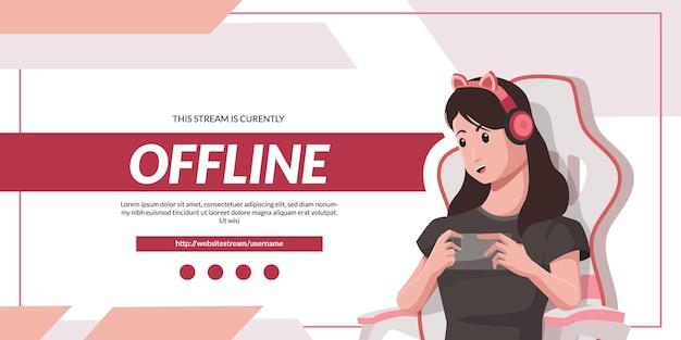 かわいいヘッドフォンとゲーミングチェアを持つカジュアルな女性は、ピンク色のオフラインストリームバナーテンプレートのゲームイラストコンセプトを再生します。