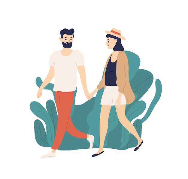 Casual young couple walking holding hands outdoors flat illustration
