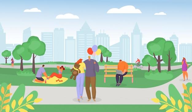 夏の公園、ロマンチックなカップルのウォーキング、自転車に乗る男、公園の週末漫画イラストでピクニックを持っている家族のカジュアルな若者。