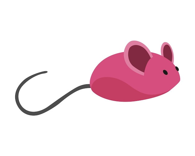 Cat accessorie rubber mouse. funny toy device for playing with animal. colorful illustration for pet shop. kiten care icon