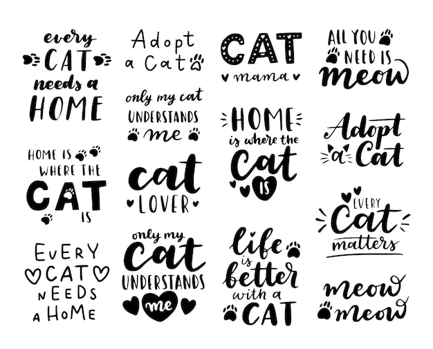 Cat adoption phrase black and white. inspirational quotes about domestical pets adoption. hand written phrases