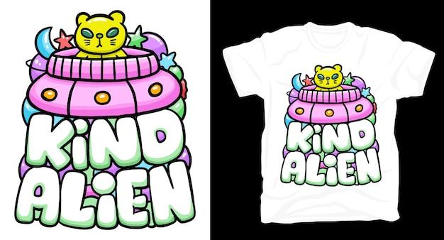 고양이 외계인 낙서 타이포그래피 티셔츠 디자인