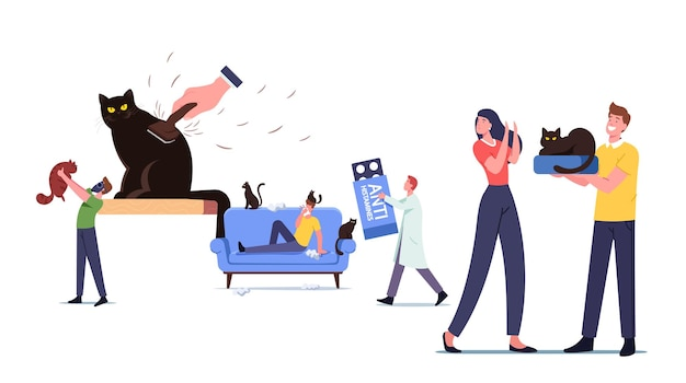 Cat allergy concept. male female characters with allergic reaction on pet fur, tiny doctor carry huge anti histamine remedy for treatment man hold cat in respirator. cartoon people vector illustration