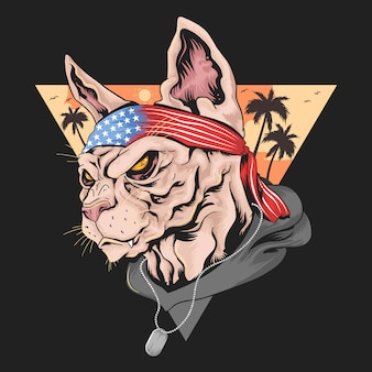 Cat america usa flag