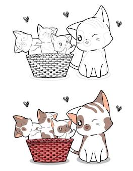 猫と赤ちゃん猫の漫画の着色のページ
