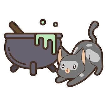 ハロウィーンの日の猫と大釜